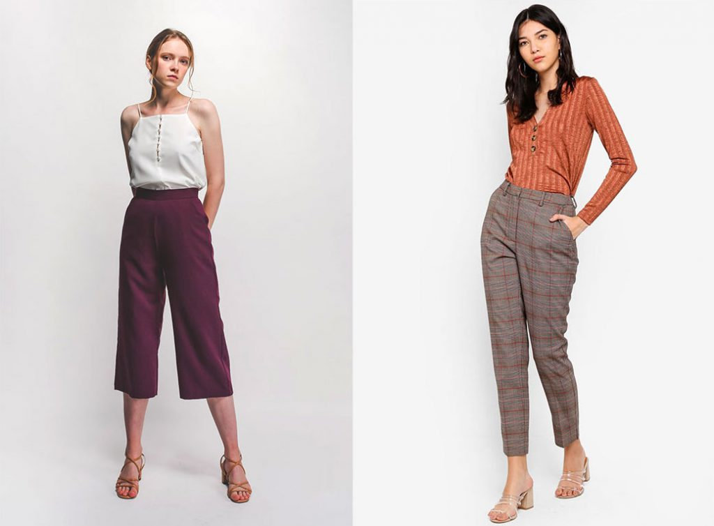 Outfit: pant culotte heritage, wine red Klarra and Warehouse